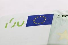 100 евро европейца, конец вверх Стоковое фото RF