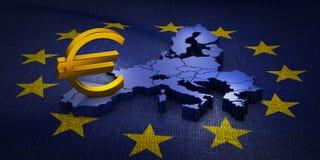 Евро знака на карте иллюстрация штока