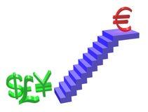 евро идет вверх иллюстрация вектора