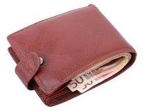 евро изолировало бумажник Стоковая Фотография RF