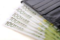 Евро и бумажник Стоковая Фотография RF