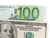Евро и доллар на белой предпосылке Стоковое Изображение RF
