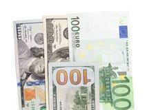 Евро и доллар на белой предпосылке Стоковое Изображение
