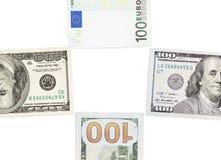 Евро и доллар на белой предпосылке Стоковые Фотографии RF