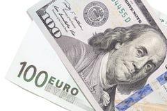 Евро и доллар на белой предпосылке Стоковое фото RF