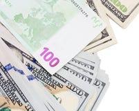Евро и доллар на белой предпосылке Стоковые Изображения RF
