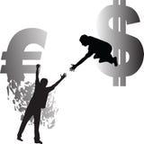 Евро и доллар иллюстрация вектора