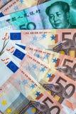 Евро и китайские примечания банка Стоковое Изображение