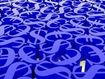 евро и доллар символа 3d Стоковая Фотография
