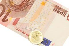 10 евро и рубль Стоковые Фото