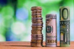 100 евро и 100 свернутых долларом США банкнот счетов Стоковое Изображение