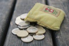евро монетки вне бумажника Стоковые Фото