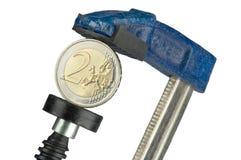 евро монетки струбцины Стоковое фото RF