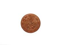 евро монетки цента изолировало одну белизну Стоковое Изображение