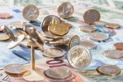 евро монеток кредиток много Стоковая Фотография RF