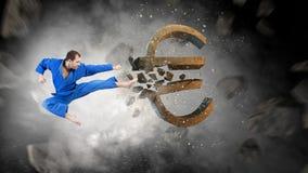 Евро нападения человека карате Мультимедиа Стоковые Фотографии RF