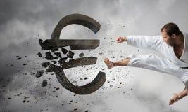 Евро нападения человека карате Стоковое Изображение RF