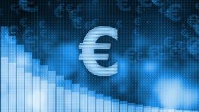 Евро падая, нисходящая предпосылка диаграммы, мировой кризис, крах фондовой биржи иллюстрация штока