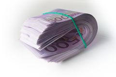 500 евро под резиновым бундом стоковая фотография rf