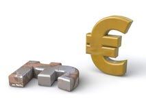 Евро появляется на лиру Стоковое Изображение