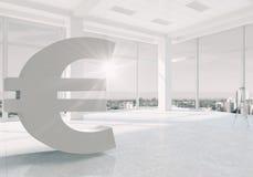 Евро подписывает внутри интерьер Мультимедиа Стоковое Фото
