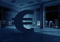 Евро подписывает внутри интерьер Мультимедиа Стоковые Изображения RF