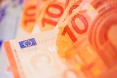 Евро представляет счет крупный план Стоковое фото RF