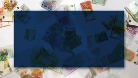 Евро представляет счет падать, предпосылка для оформления, текста, влияния задержки иллюстрация вектора