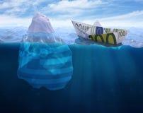 евро сделало вне бумажный корабль иллюстрация штока