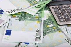 евро чалькулятора предпосылки Стоковое фото RF