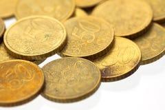 евро 10 50 монеток цента Стоковые Фото