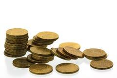 евро 12 50 монеток цента Стоковое Фото
