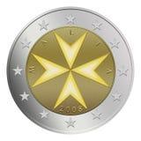 евро 2 монеток мальтийсное Стоковая Фотография