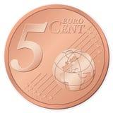 евро 5 центов иллюстрация вектора