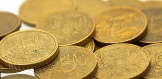 евро 5 50 монеток цента Стоковые Изображения