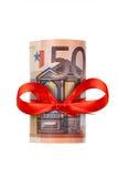 евро 50 свернуло вверх Стоковая Фотография RF