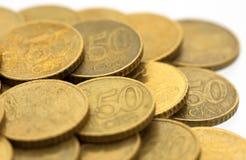 евро 8 50 монеток цента Стоковое фото RF