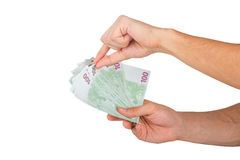 100 евро Banknots в руке Стоковая Фотография RF