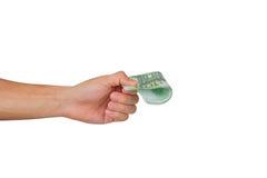 100 евро Banknots в руке Стоковые Фотографии RF