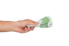 100 евро Banknots в руке Стоковая Фотография