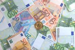 Евро Bitcoin Стоковое Изображение