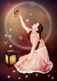 девушка бабочек немногая стоковая фотография rf