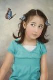 девушка бабочки немногая Стоковое Изображение RF