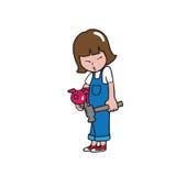 девушка банка piggy иллюстрация штока