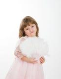 девушка вентилятора 4 платья предпосылки красивейшая изолировала розовый белый год Стоковая Фотография