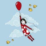 девушка летания немногая Стоковые Фото