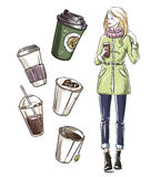 девушка имея заедк отсутствующее взятие кофе Стоковая Фотография RF