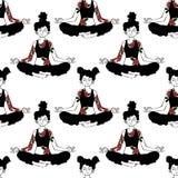 девушка йога Представление лотоса Безшовная предпосылка картины вектора Стоковая Фотография RF
