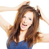 девушка Красные волосы и открытый рот Стоковые Изображения RF