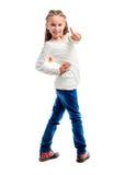 девушка меньший большой пец руки вверх Стоковая Фотография